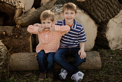 Little brother being silly at a family photo session