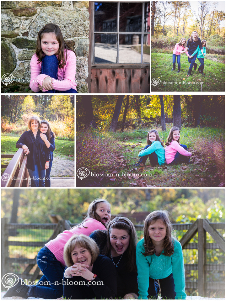 Mother and daughter photo session with identical twins and teen daughter.